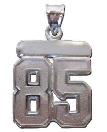 Large 3/4 Polished Double Number Polished Pendant - Sterling Silver Jewelry
