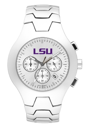 Louisiana State (LSU) Tigers NCAA Men's Hall of Fame Watch with Stainless Steel Bracelet