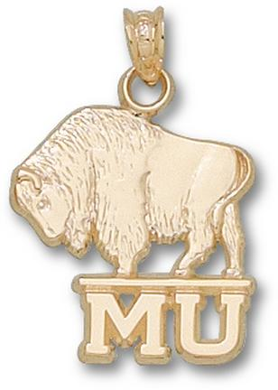 Marshall Thundering Herd Molded MU Buffalo Pendant - 14KT Gold Jewelry