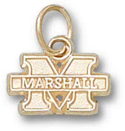 """Marshall Thundering Herd New """"M Marshall"""" 1/4"""" Lapel Pin - 10KT Gold Jewelry"""