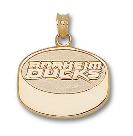 Anaheim Ducks New Puck Pendant - 14KT Gold Jewelry
