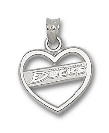 Anaheim Ducks New Logo Heart Pendant - Sterling Silver Jewelry