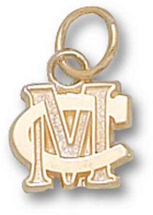Methodist College Monarchs MC 5/16 Charm - 14KT Gold Jewelry