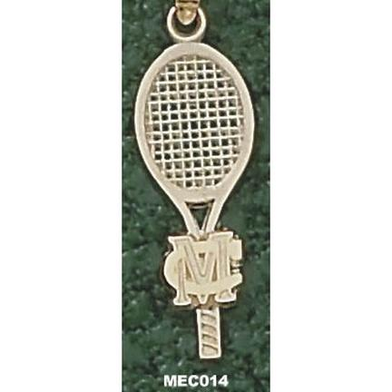 Methodist College Monarchs Small MC Racquet Pendant - 14KT Gold Jewelry