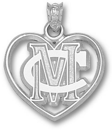 Methodist College Monarchs MC Heart Pendant - Sterling Silver Jewelry