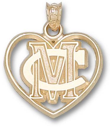 Methodist College Monarchs MC Heart Pendant - 14KT Gold Jewelry