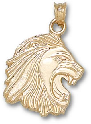Methodist College Monarchs 3-D Lion Head 5/8 Pendant - 14KT Gold Jewelry