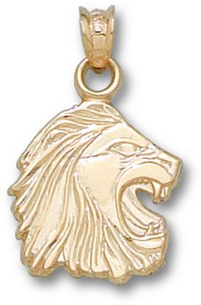 Methodist College Monarchs 3-D Lion Head 3/4 Pendant - 14KT Gold Jewelry