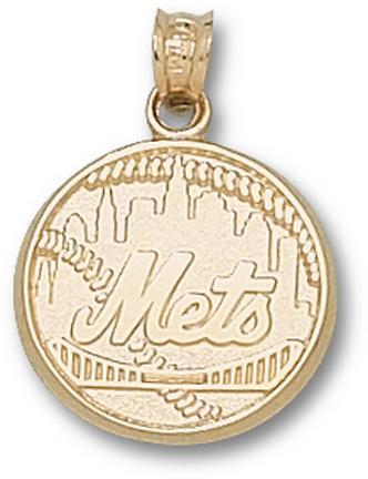 New York Mets Mets Logo 5/8 Pendant - 14KT Gold Jewelry