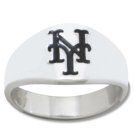 New York Mets Logo Mens Enamel Sterling Silver Band Ring (size 12)