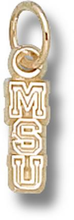 """Michigan State Spartans Vertical """"MSU"""" 3/8"""" Lapel Pin - Sterling Silver Jewelry"""
