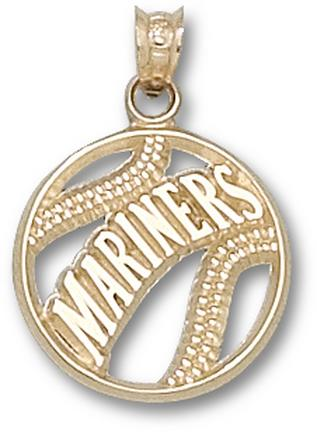 "Seattle Mariners Pierced """"Mariners Baseball"""" Pendant - 10KT Gold Jewelry"" LGA-MRN003-10K"