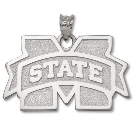 Mississippi State Bulldogs 5/8 M Logo Pendant Sterling Silver Jewelry