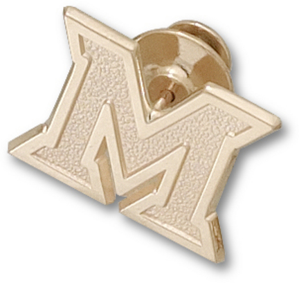 "Miami (Ohio) RedHawks New ""M"" Lapel Pin - 10KT Gold Jewelry"