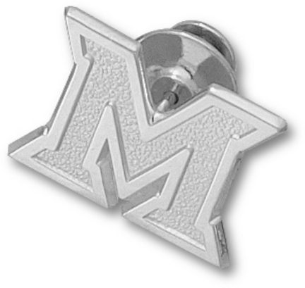 "Miami (Ohio) RedHawks New ""M"" Lapel Pin - Sterling Silver Jewelry"
