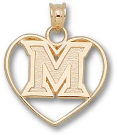 """Miami (Ohio) RedHawks """"""""M Heart"""""""" Pendant - 10KT Gold Jewelry"""" LGA-MU020-10K"""