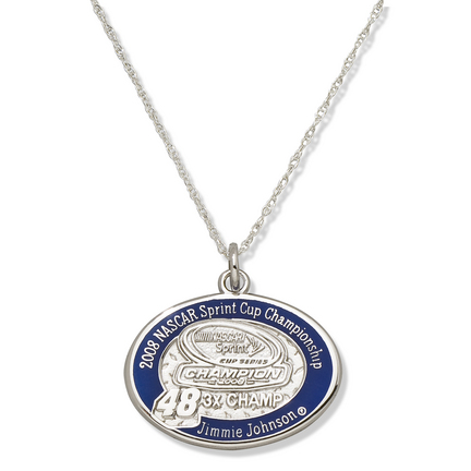 Jimmie Johnson #48 2008 Nascar 3x Spring Cup Champion 3/4 Oval Enameled Pendant On An 18 Chain Sterling Silver Jewelry