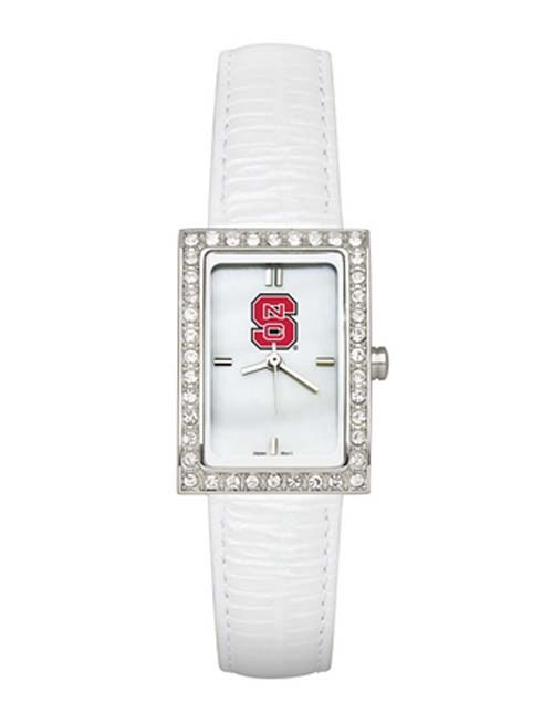 North Carolina State Wolfpack Women's Allure Watch with White Leather Strap