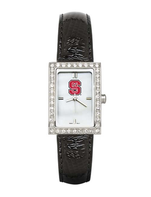 North Carolina State Wolfpack Women's Allure Watch with Black Leather Strap