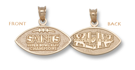 New Orleans Saints Super Bowl XLIV Champions Two-Sided Football Pendant - Gold Plated Jewelry