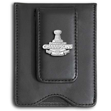 Boston Bruins 2011 Stanley Cup Champions Sterling Silver Logo on a Black Leather Money Clip / Credit Card Holder LGA-NHL11BMC9-SS