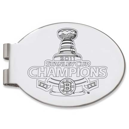 Boston Bruins 2011 Stanley Cup Champions Laser Engraved Oval Money Clip LGA-NHL11BRI-MC