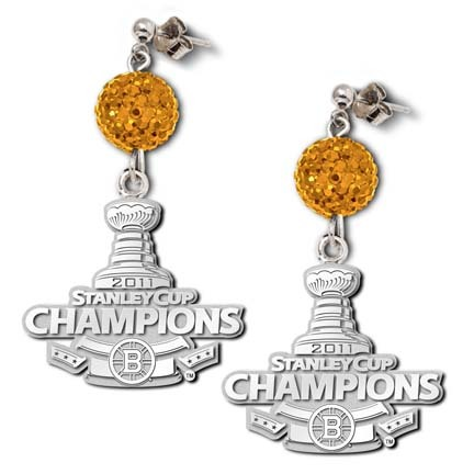 Boston Bruins 2011 Stanley Cup Champions Ovation Crystal Earrings LGA-NHL11OVBERB-SS