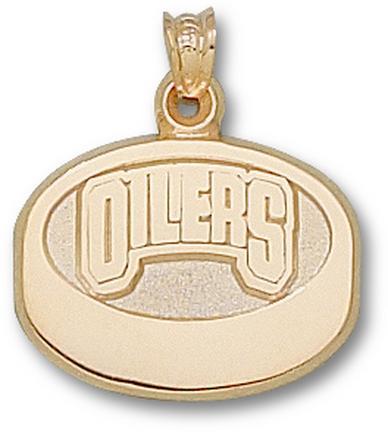 Edmonton Oilers Oilers Puck Pendant - 14KT Gold Jewelry