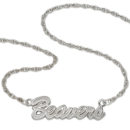"""Oregon State Beavers """"Beavers"""" Sterling Silver Script Necklace"""