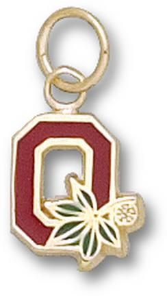 """Ohio State Buckeyes Block """"O"""" 3/8"""" Enameled Lapel Pin - Sterling Silver Jewelry"""