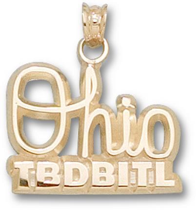 """Ohio State Buckeyes Script """"Ohio Tbdbitl"""" 1/2"""" Lapel Pin - 10KT Gold Jewelry"""