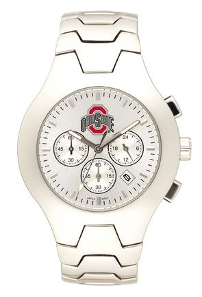 Ohio State Buckeyes NCAA Men's Hall of Fame Watch with Stainless Steel Bracelet