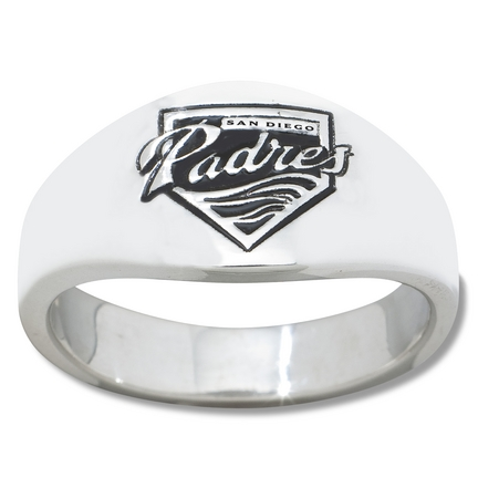 San Diego Padres Logo Men's Enamel Sterling Silver Band Ring (Size 11)