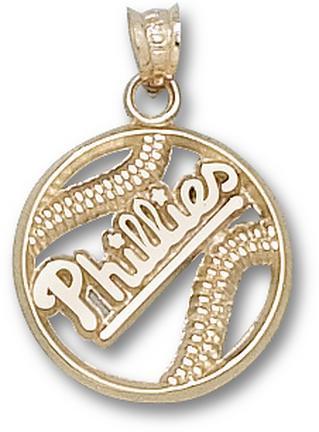 Philadelphia Phillies 'Phillies' Pierced Baseball Pendant - 10KT Gold Jewelry