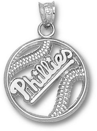 Philadelphia Phillies Pierced 'Phillies Baseball' Pendant - Sterling Silver Jewelry