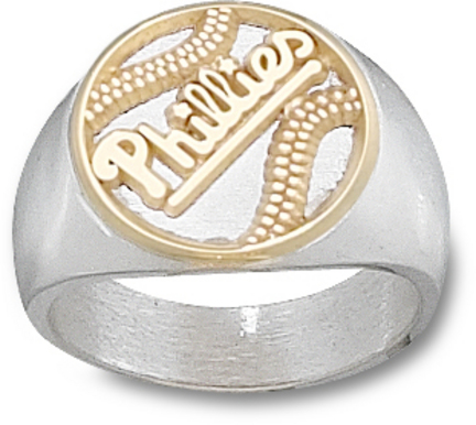 Philadelphia Phillies 'Phillies' Baseball Two Tone Men's Ring (Size 10) - 10KT Gold / Sterling Silver Jewelry