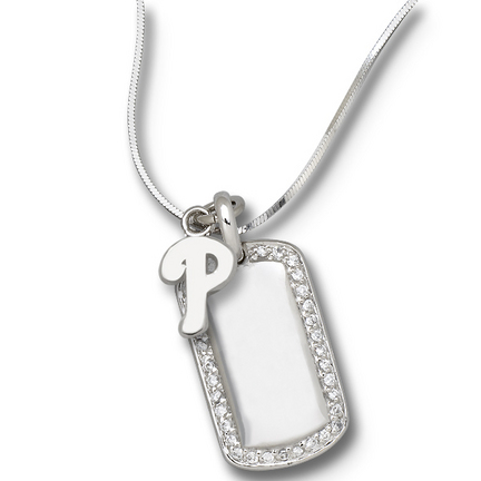"""Philadelphia Phillies 3/8"""" """"P"""" Logo on Sterling Silver Mini Dog Tag Necklace"""