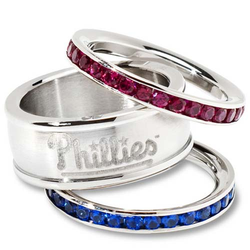 Philadelphia Phillies Logo Crystal Stacked Ring Set (Size 7)