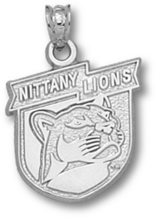 Penn State Nittany Lions Banner Shield Pendant - Sterling Silver Jewelry