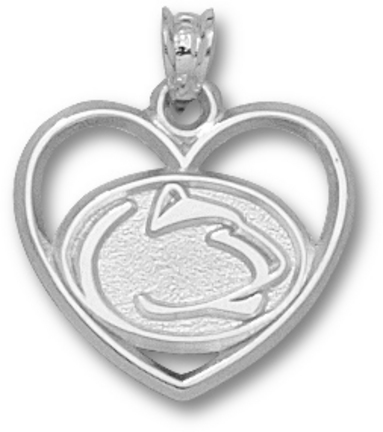 """Penn State Nittany Lions """"Lion Head"""" Heart Pendant - Sterling Silver Jewelry"""