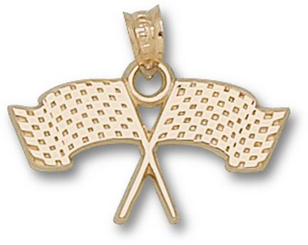 Indianapolis Motor Speedway Crossed Flags 12 Pendant  14KT Gold Jewelry