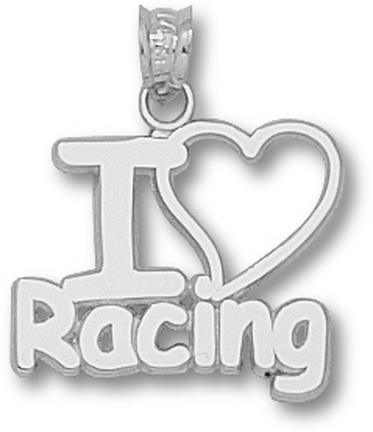 Indianapolis Motor Speedway I Love Racing Pendant  Sterling Silver Jewelry