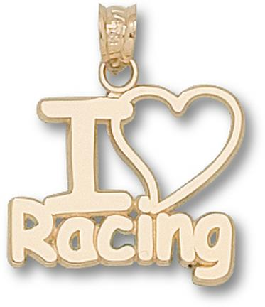 Indianapolis Motor Speedway I Love Racing Pendant  14KT Gold Jewelry