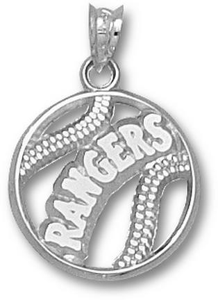 Texas Rangers Pierced 'Rangers Baseball' Pendant - Sterling Silver Jewelry