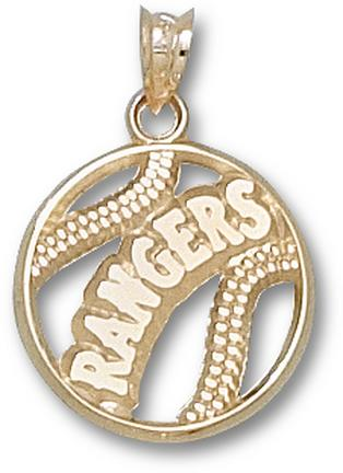 Texas Rangers Pierced 'Rangers Baseball' Pendant - 14KT Gold Jewelry
