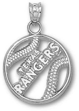 Texas Rangers Pierced 'Texas Rangers Baseball' Pendant - Sterling Silver Jewelry