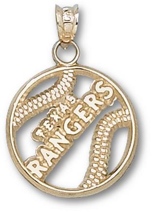 Texas Rangers Pierced 'Texas Rangers Baseball' Pendant - 14KT Gold Jewelry