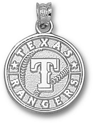 Texas Rangers 5/8in Club Logo Pendant - Sterling Silver Jewelry