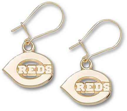 Cincinnati Reds 7/16in Polished 'C Reds' Dangle Earrings - 10KT Gold Jewelry