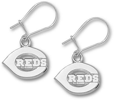 Cincinnati Reds 7/16in Polished 'C Reds' Dangle Earrings - Sterling Silver Jewelry